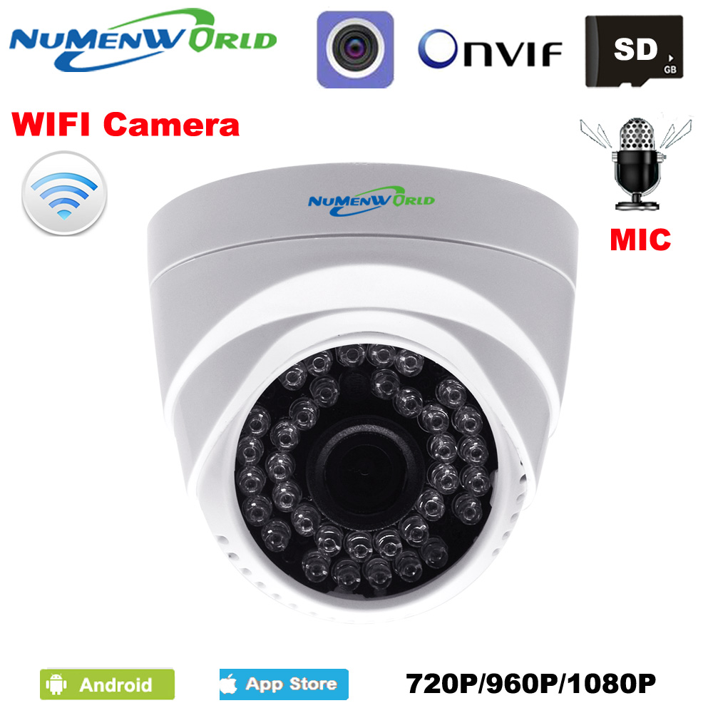 WIFI IP Dome Camera HD Wireless Security CCTV Webcam Built-in Microphone SD Card Slot Use For Indoor Support Smartphone View