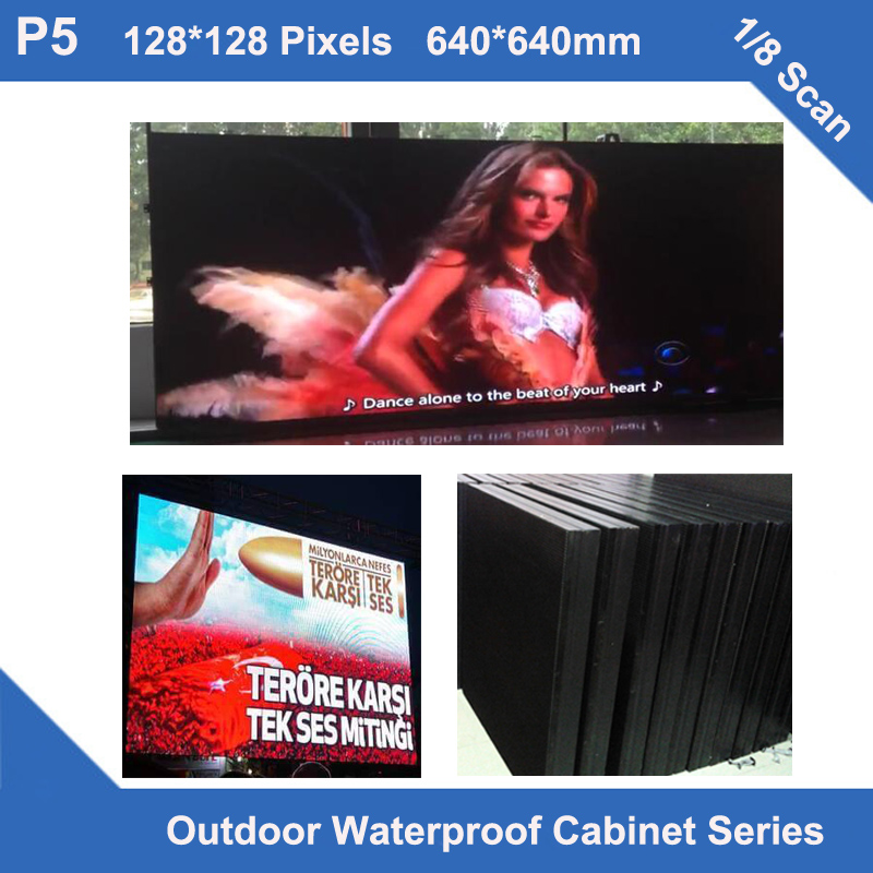 TEEHO display led panel outdoor P5 Outdoor waterproof cabinet 640mm*640mm 1/8 scan advertising led display <font><b>billboard</b></font> <font><b>sign</b></font> board image