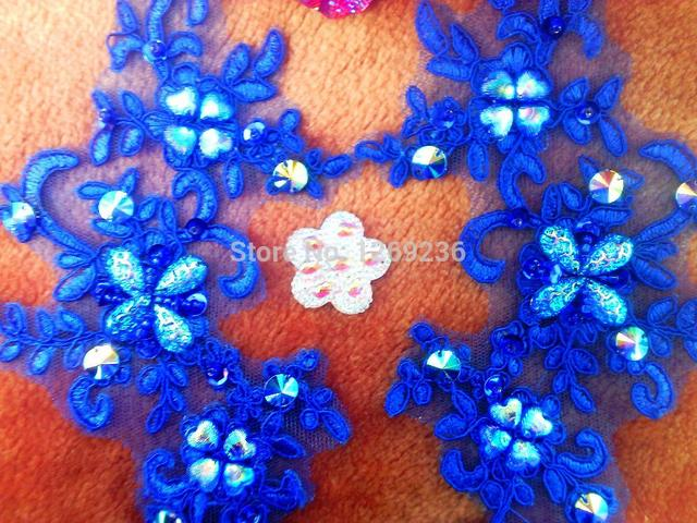 Handmade sew on royablue sequins patches rhinestones lace applique