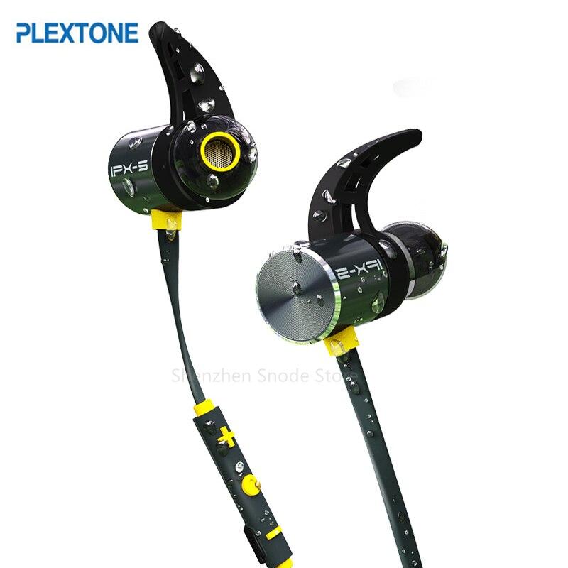 Plextone BX343 Cuffia Senza Fili Bluetooth IPX5 Auricolari Impermeabili Magnetica Auricolare Auricolari Con Microfono Per Il Telefono di Sport