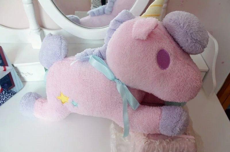 Belle peluche rose licorne jouet peluche pégase oreiller poupées environ 50 cm cadeau 0546
