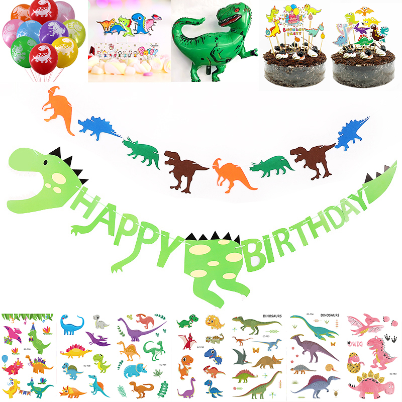 Dinosaur Party Set Dinosaur Banner Garland Giant Balloons Cake Topper Tattoo Sticker Dino Themes Event Party Supplies for Boys Гриль