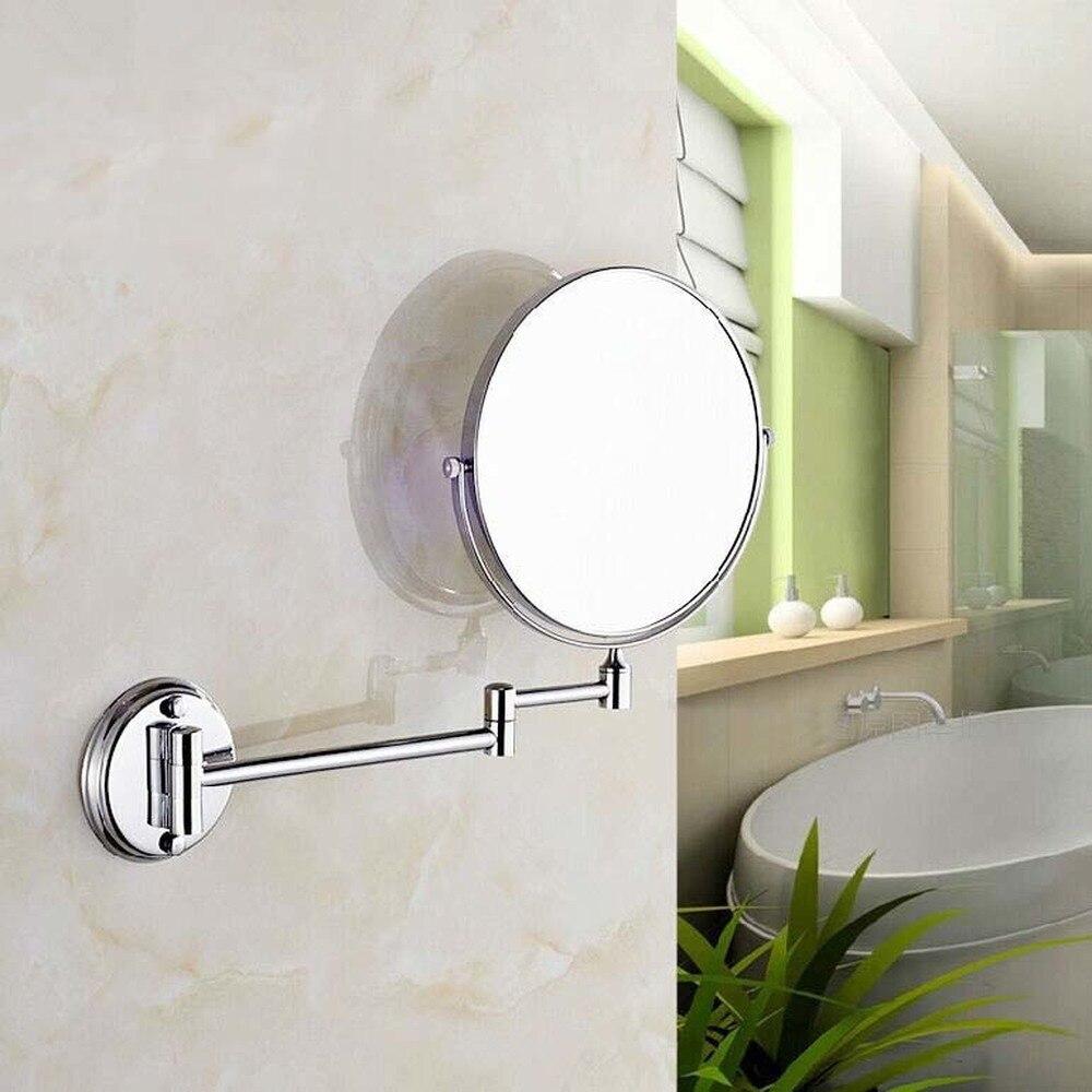 Folding Beauty Mirror Round Bathroom Mirror Wall Mount Triple Enlargement Bathroom Double Sided Mirror LO611511 rural elliptical bathroom mirror bathroom mirror wedding wall goggles