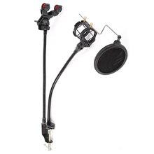 New Microphone Stand Stable Mic Clip Holder Bracket Wind Screen Pop Filter Swivel Mount For Broadcast Singing Karaoke