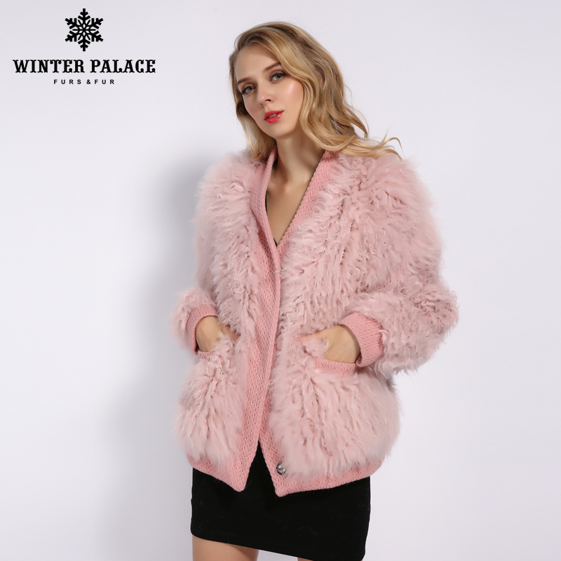 冬の宮殿 2019 女性の新ファッションウールコートショートジャケット毛皮のコートニット秋と冬の季節暖かい複数カラー  グループ上の レディース衣服 からの 本物の毛皮 の中 1