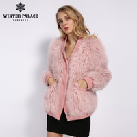 WINTER PALACE 2019 Women's New Fashion Wool Coat Short Jacket Fur Coat Knit Autumn And Winter Season Warm Multiple Colour