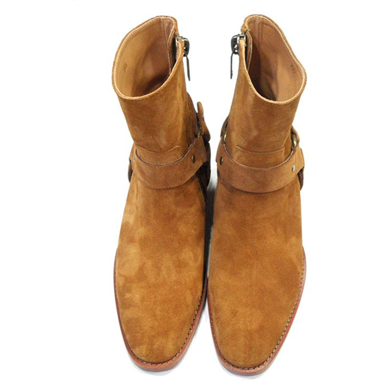 Follwwith Brand Fashion Tan Suede Leather Chains Harness Men Motorcycle Boots Stacked Heel Anke Boots Side Zip Men Chelsea Boots