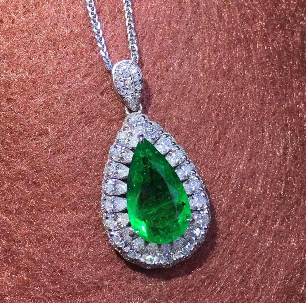 GRS โคลอมเบียเครื่องประดับ 18 K สีขาวธรรมชาติ 1.41ct Emerald อัญมณีหญิงจี้สำหรับสร้อยคอผู้หญิง