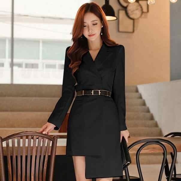 Autumn Elegant Single Notched Women Blazer Dress Irregular Sashes OL Style Dress High Waist vestidos femme 2019 DF455