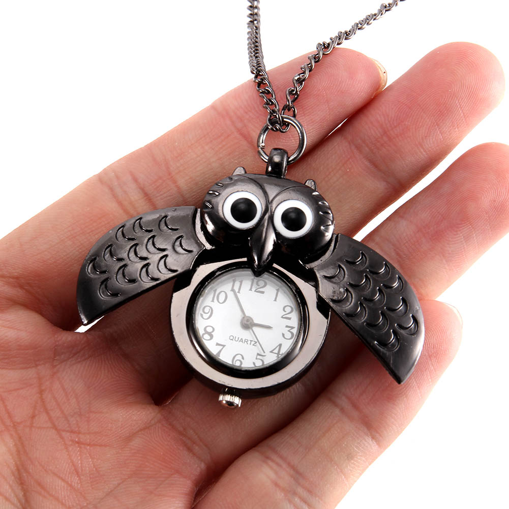 Women Vintage Pocket Watch Quartz Watch Cool Chain Cute Owl Cover Watches LL@17