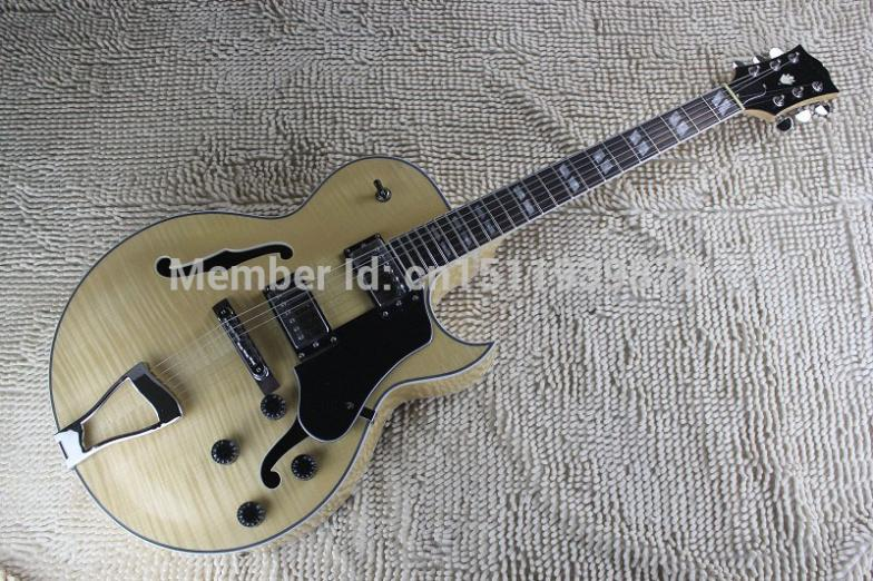 free shipping best guitar Top quality custom L5 JAZZ Semi Hollow Electric Guitar natural wooden color