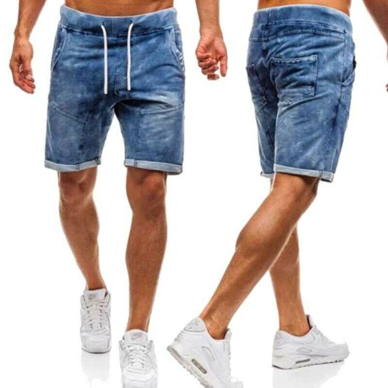 2019 CottonThin Denim Ruched Curto dos homens Calças de Moda de Nova Verão Casual Masculino Cintura Baixa Short Jeans Shorts Calça Stretch