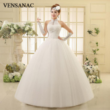VENSANAC 2018 Crystal Halter Lace Appliques Ball Gown Wedding Dresses Sequined Pleat Backless Tulle Bridal Gowns
