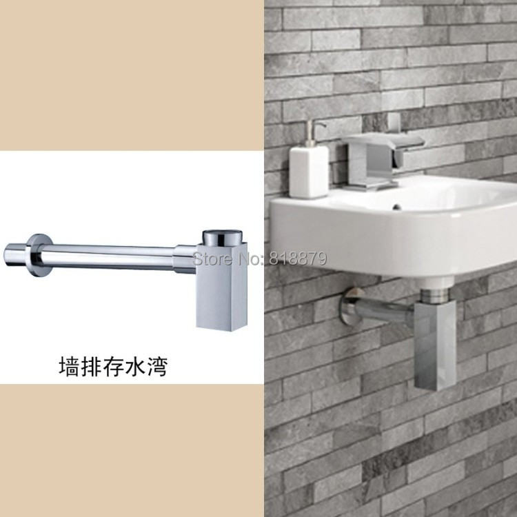 Bathroom cabinet brass basin anti-odor horizontal siphon drain pipe stainless steel s trap anti odor handbasin basin basin drainer drainage pipe bathroom cabinet sewer pipe