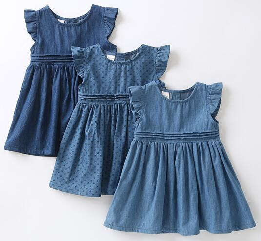 2018 Spring and summer new children girls denim washed soft leisure vest sleeveless girl dress in Dresses from Mother Kids