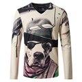 2016 новинка бренд 3D печать футболка мужчины европейский стиль slim-подходят v-шея длинный рукав хлопка футболку мужчины Camiseta Homme 4XL 5XL