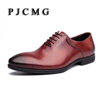 New Fashion Luxury Comfortable Handmade Genuine Leather Lace Up Pointed Toe Oxford Business Casual Dress Men