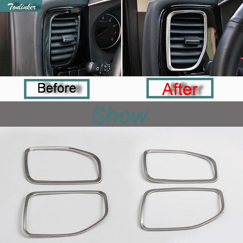 Tonliner 2 Pcs DIY font b Car b font Style Stainless Steel Both Sides Dashboard Outlet