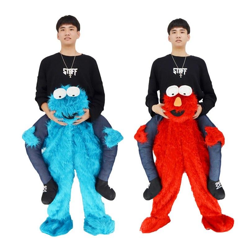 2019 Elmo farci tour sur moi sésame rue COOKIE monstre mascotte porter arrière fantaisie habiller pantalons Costums pour Halloween noël
