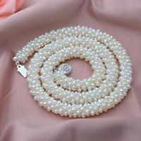 Natural 100% Genuine Pearl Necklace Mother Gift Gem stone Round White Pink Purple Pearl Jewelry Necklace