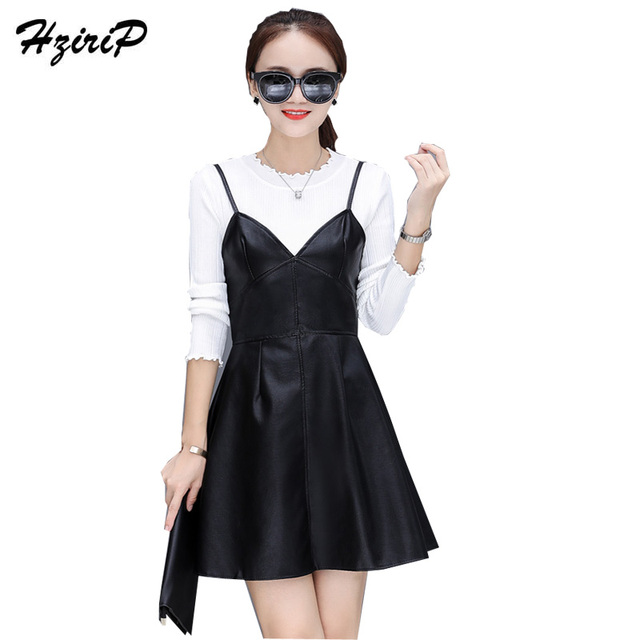 HziriP PU Leather Strap Dress Lace Collar Long Sleeves Shirt Bottoming Sling Two Sets Of Suits Women 2017 Autumn Winter  Skirt