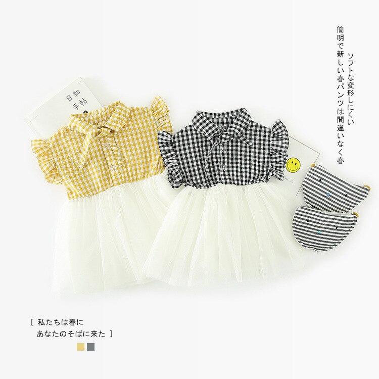 Платье для маленьких девочек 2018 Новый Повседневное Летняя Одежда для младенцев лоскутное платье в клетку малыша с расклешенными рукавами д...