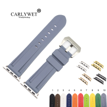 CARLYWET Fashion 38 40 42 44mm Grey Blue Silicone Rubber Replacement Wrist Watchband Strap Loops For Iwatch Series 4/3/2/1