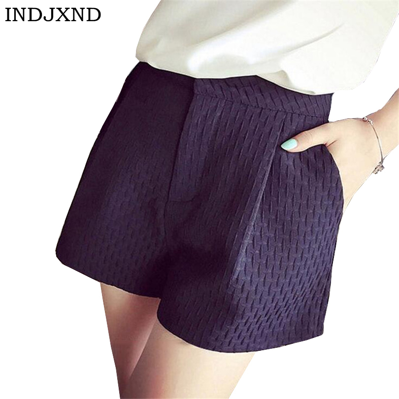 INDJXND 2018 New Summer Candy Color High Waist   Shorts   A Word Wide Leg Fashion Joker Plaid   Shorts   Plaid   Short   Loose Casual Women