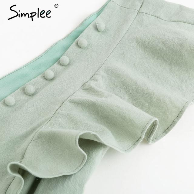 Elegante v-ausschnitt geraffte leinen frauen strampler Sommer tasten rüschen baumwolle kurze overall Casual sexy licht grün insgesamt