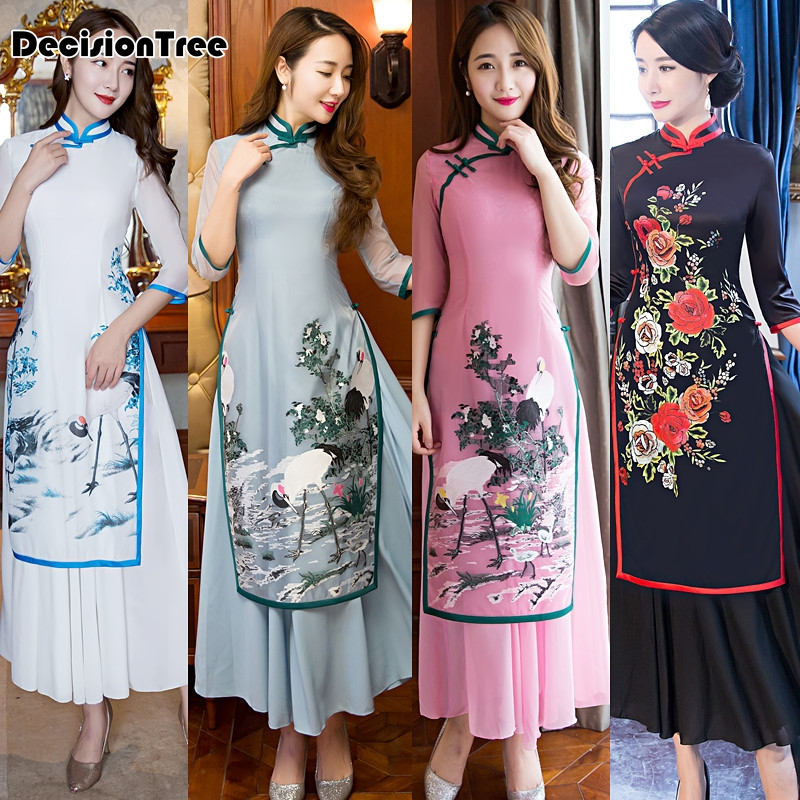 2017 été ao dai cheongsam folk style vietnam robes large jambe - Vêtements nationaux - Photo 3