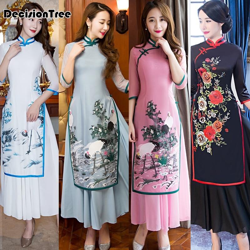 2017 ljeto ao dai cheongsam folk stil vietnam haljine široka noga - Nacionalna odjeća - Foto 3