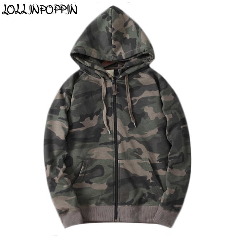 cafeda5c3b813 Men Zip Up Camouflage Hoodies Cotton Terry Military Style Mens Camo Pattern  Hooded Sweatshirts Raglan Sleeves