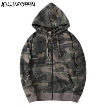 Men Zip Up Camouflage Hoodies Cotton Terry Military Style Mens Camo Pattern Hooded Sweatshirts Raglan Sleeves Male Hoodie - DISCOUNT ITEM  0% OFF All Category