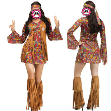 Abbille Women Brown Hippie Kostym American Native Costumes 70s Retro Party Stagewear Kläder Halloween Kostymer för kvinnor Klänning