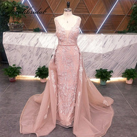 New Arrival Real Pictures Celebrity Inspired Dresses 2 in 1 Detachable Tail Women Luxury Formal Evening Party Gown Presale L5478