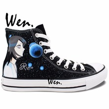 Wen Anime Unisex Hand Painted Shoes Custom Design Bleach Casual Shoes Women Men's High Top Canvas Shoes Christmas Birthday Gifts