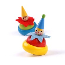 Spinning Top Wooden Gyroscope Toy Traditional Wood Rotating Clown Gyro Kids Parent-child Early Educational Toys for children