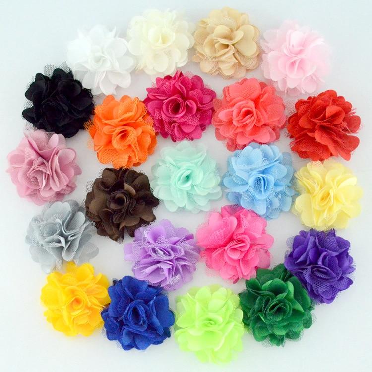 Nishine 20pcs/lot Satin Mesh Flowers DIY Kids Hair Accessory Boutique Wedding Decoration Flower Hair Flower Accessories