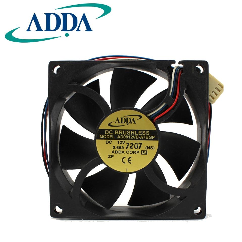 1 PCS ADDA  Fan AD0812VB-A7BGP   80*80*25mm DC 12V 0.65A 4 Pin