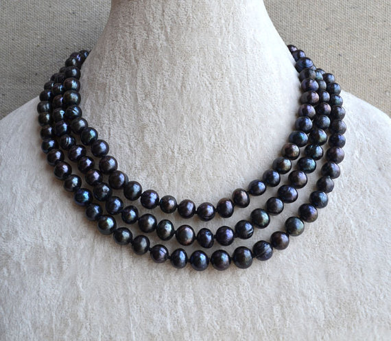 Charming Real Pearl Jewelry,48inches Long Pearl Jewelry,8-8.5mm Black Color Freshwater Pearl Necklace,Wedding Party Gift.