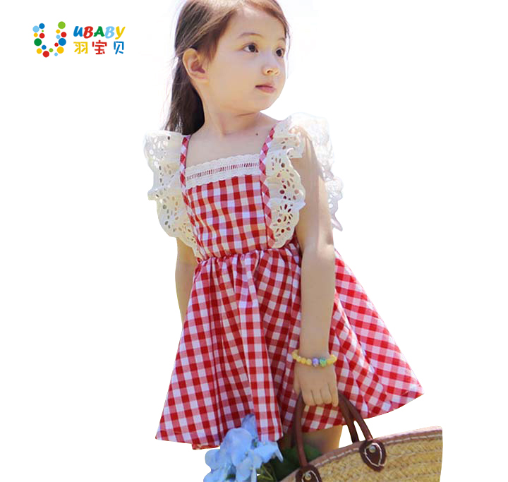 2017 Summer <font><b>Little</b></font> <font><b>Girls</b></font> Dresses Fly Sleeve Baby Clothes Princess Plaid Elastic Lace Child Kid's Dress Kids Clothes, <font><b>Blue</b></font>/Red