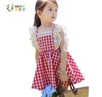 2015 Summer New Arrival Girls Fly Sleeve Plaid Dress Princess Dress Plaid Dress Elastic Lace Kid
