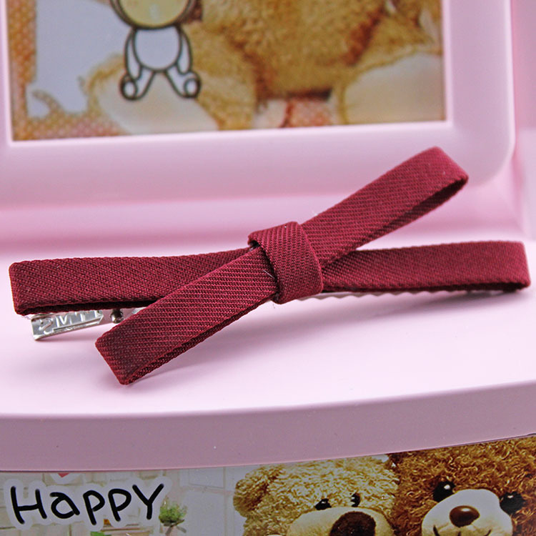 Clip hair headwear cloth art bowknot cross a word, free home delivery han edition hair pearl four petals small clip hairpin edge clip a word free home delivery