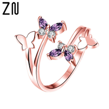 ZN 2019 New Adjustable Butterfly Crystal Wings Female Rings For Women Jewelry Girls Wedding Bands Fashion Party Rose Gold Ring