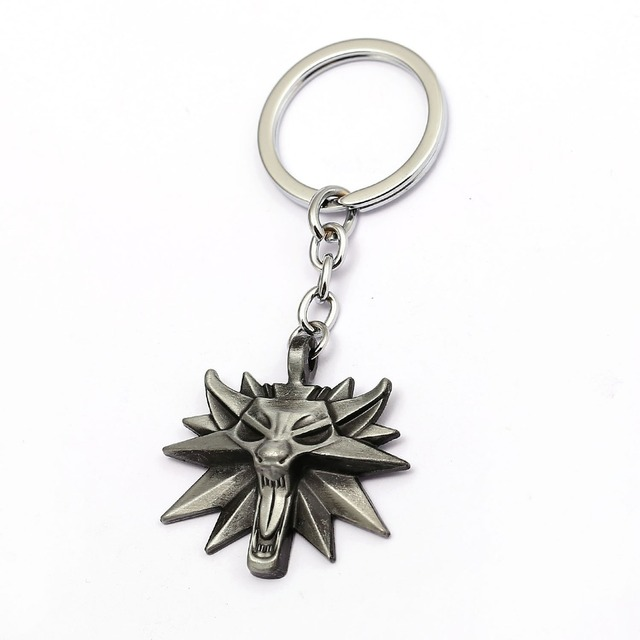 HSIC Game The Witcher 3 Wild Hunt Medallion Key Holder Alloy The Hunt 3 Figure Wolf Head Boutique Key Chains llaveros HC12448