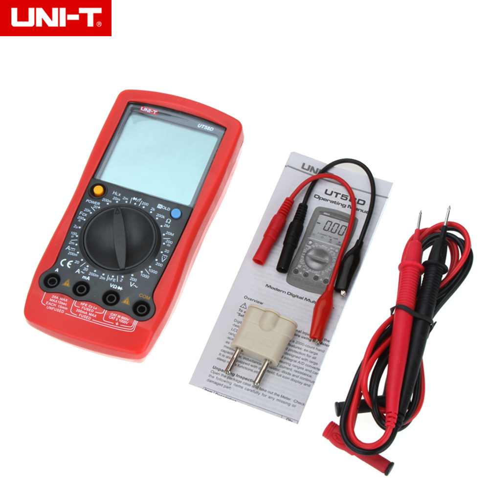 UNI-T UT58D LCD Digital Multimeter AC/DC Volt Amp Ohm Capacitance Inductance Tester 20A dc 12v volts 40a insulation housing nc spst 4 pin car power relay jd1912 10 pcs