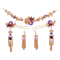 Ethnic Wedding Bridal Hair Jewelry Sets Purple Beads Headpiece Tassel Step Shake with Clip on Earrings Women Costume Headwear