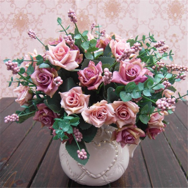 Keythemelife Artificial Rose Flowers Colorful 10 Heads Floral Silk Flower  Wedding Garden Home Decor DIY Decoration