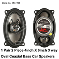 1 Pair Bass Car Speaker 4inch X 6inch Oval 3 way Coaxial Car Speakers Tweeter for poson qq 2017 car speaker Great German Quality