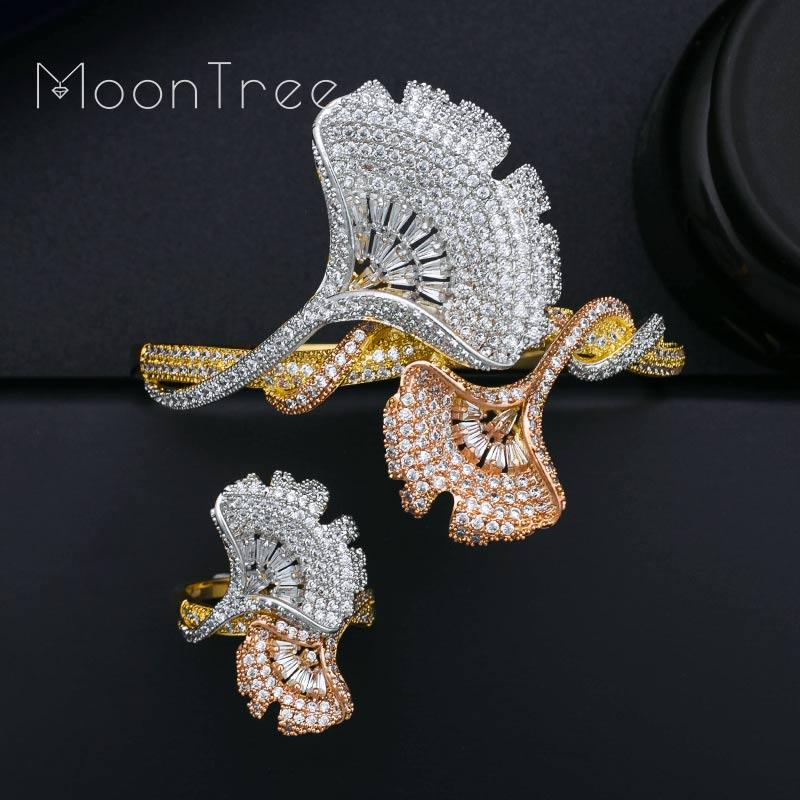 MoonTree Lxury Ginkgo Leaf Women Wedding Bridal Full Micro AAA Cubic Zirconia Bangle Ring Dubai Dress
